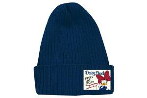 ニットC DN デイジーリボン NV ニット帽 ニットキャップ レディース シンプル かわいい おしゃれ ワッペンタグ ディズニー デイジー ネイビー