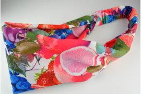 TAフルーツプリント PK ヘアターバン ターバン ヘアバンド ヘアアクセサリー ヘアアクセ ヘッドアクセ フルーツ 果物 柄 夏 かわいい 派手 カラフル レディース 女の子 髪飾り
