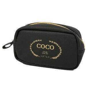 COCO スクエア ポーチ ブラック ペンポーチ ブランド おしゃれ 高校女子 ペンケース 大容量 中学 女子 化粧ポーチ コスメポーチ ブラシも入る 筆箱