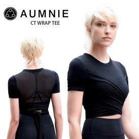 アムニー ヨガウェア AUMNIE CTラップ Tシャツ 日本正規品 CT WRAP TEE 19FW トップス ヨガ 半袖 おしゃれ ホットヨガ カットソー クロップド丈「SK」_L《00228》
