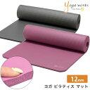 ヨガワークス ヨガマット Yogaworks ピラティスマット 12mm 日本正規品 PILATES MAT 20SS 10mm以上 厚め 極厚 トレー…