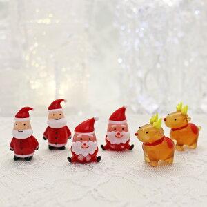 ガラス細工 サンタとトナカイ6個セットAサンタ×4個、トナカイ×2個の6個セットです。 クリスマス  プレゼント ミニチュア ガラス ディスプレイ オブジェ キャンドル 手作り 材料 キット