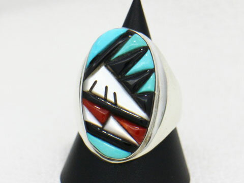 ☆インディアンジュエリー☆ズニ・ZUNI族の美しいリングです。【サイズ】25号【石】ターコイズ・シェル・ジェット・コーラル【zri-0066】【送料無料】【1023max10】
