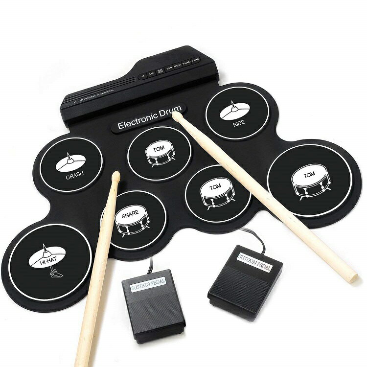 iWord 電子ドラムセット 子供用 ミニ キッズ 電子ドラム 7音色 8デモ曲 7個ドラムパッド メトロノーム機能 外部音源入力可能 ペダル スティック付き 練習/初心者/入門/おもちゃ どこでもドラム