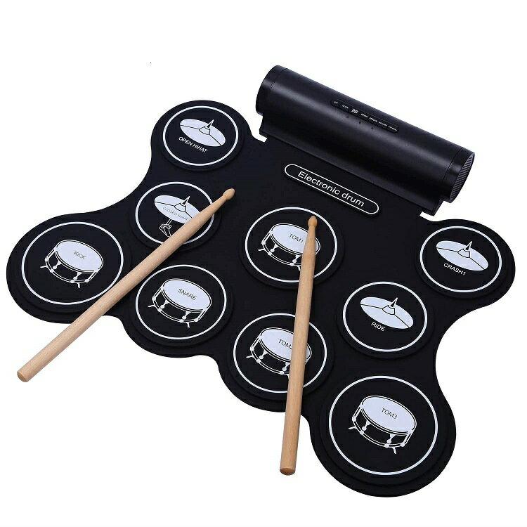 電子ドラム スピーカー内蔵 練習 持ち運び ペダル スティック セット 初心者 パッド 子供 キッズ おもちゃ 自宅 家 9パッド 充電式 ロールアップ CHAYA 5種類のドラム音色組 メトロノーム機能 外部音源入力可