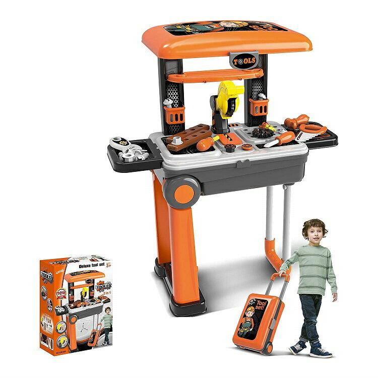 UiiQ おままごと 工具セット ワークベンチ スーツケース式 工具おもちゃ 大工さん ミニワークセンター 組み立て ツール作業台 男の子