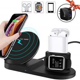Miuly Qi ワイヤレス充電器 iPhone/Apple Watch/Airpods 3 in 1 同時 アップルウォッチ 充電器 急速 7.5W 10W 充電スタンド QC3.0アダプター付属 iPhone XS Max/XR/iPhone 8/8 Plus/Samsung Galaxy S9/S9+/S8/S8+/Note 8/S7/S7(ブラック)B084X9CQ6W