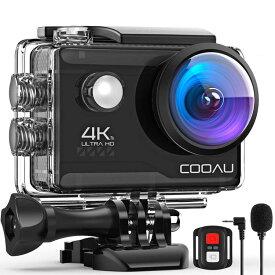 4K/30FPS&2000万画素 COOAU アクションカメラ 手振れ補正 リモコン付き 1200mAhバッテリー2個 WiFi搭載 外部マイク 40M防水 170° 2インチ液晶画面 豊富なアクセサリー 水中カメラ/ドライブレコーダー/防犯カメラ/スポーツカメラ/ウェアラブルカメラ