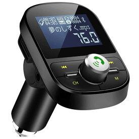 LEHXZJ FMトランスミッター Bluetooth 4.2 高音質 ハンズフリー通話 microSDカード/USBメモリに対応 2 USBポート(5V/2.1A&1A)日本語メニュー EQ設定 4つ楽曲プレーモード 12V/24V車対応 日本周波数仕様 76.0〜90.0Mhz
