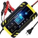 バッテリー充電器 バッテリーチャージャーメンテナンス充電器 大電流 12V 24V全自動4ステージ充電 LEDランプ逆接続&…