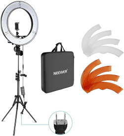 Neewer カメラ写真ビデオ用照明セット 18インチ/48cm外部55W 5500K調光LEDリングライト、ライトスタンド、スマートフォン、Youtube、自撮り撮影などに使える