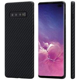 Samsung Galaxy S10+ケース「PITAKA」Magcase 軍用防弾チョッキ素材アラミド繊維高級なカーボン風 超薄(0.65mm) 超軽量(16g) 超頑丈 耐衝撃 高耐久性 スリム 薄型 ワイヤレス充電対応ギャラクシーS10+カバー (黒/グレ−ツイル柄)
