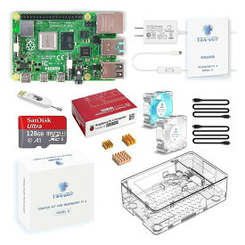 TRASKIT Raspberry Pi 4 Model B /ラズベリーパイ4B(8GB RAM)技適マーク付/MicroSDHCカード128GB NOOBSプリインストール/簡単に取り付けるケース/5.1V/3A Type-C スイッチ付電源/2つのMicroHDMI-to-HDMIケーブルライン/3つヒートシンクと2つの透明静音冷却ファン