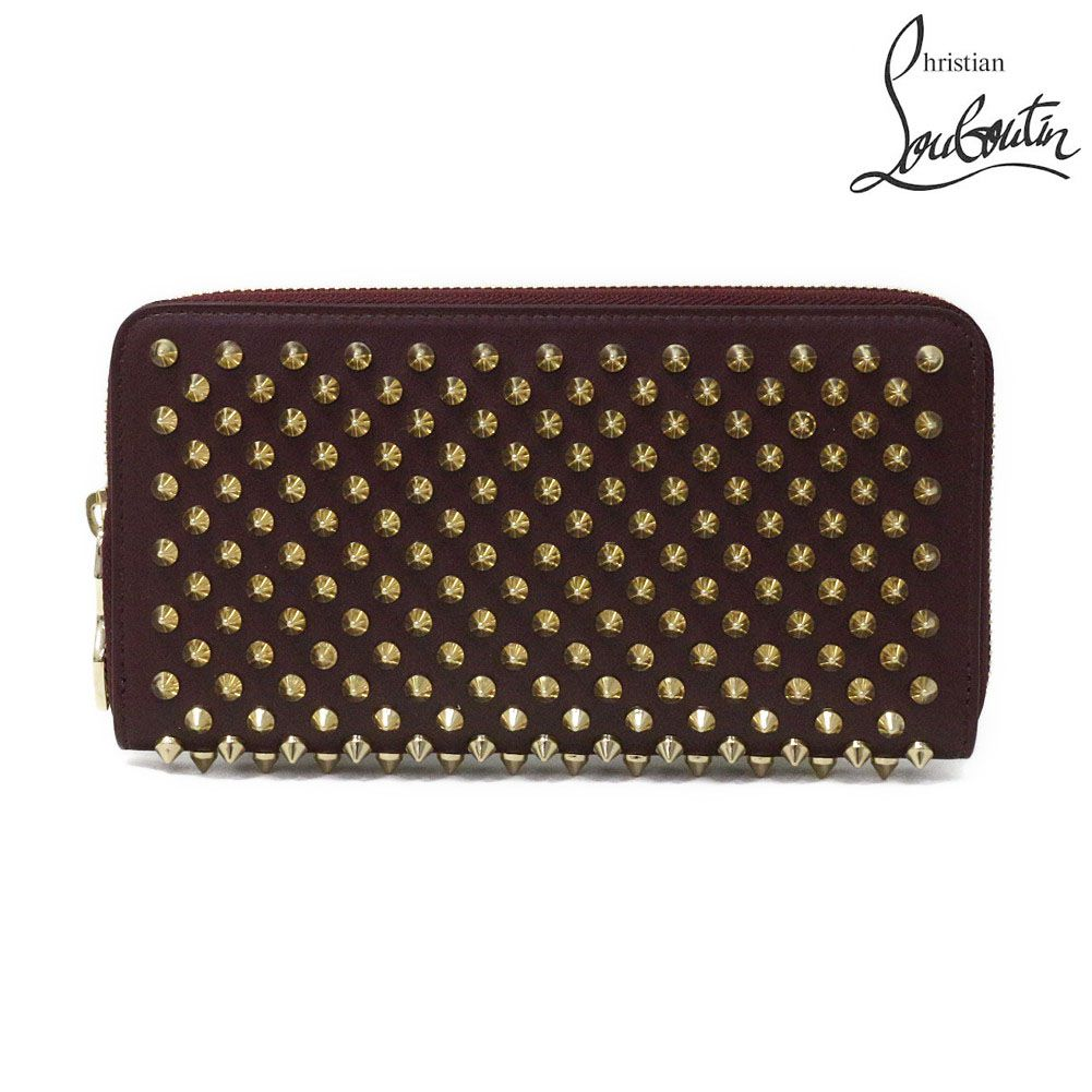 Christian Louboutin(クリスチャン・ルブタン) スパイク ラウンドファスナー長財布『Panettone Spike Zipped Continental Wallet』(R124 ORTHODOXE×GOLD/ブラウン系×ゴールド)1165065-R124-ORTHODOXE【楽ギフ_包装】【dl】brand