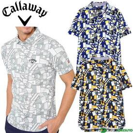 キャロウェイ フラッグプリントワイドカラー 半袖ポロシャツ メンズ 241-9157525