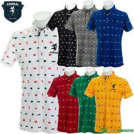 アドミラルゴルフ 総柄アイコン ボタンダウン半袖ポロシャツ メンズ ADMA937