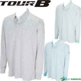 ブリヂストン TOUR B 長袖ポロシャツ メンズ 3GR01F ドットボーダー柄