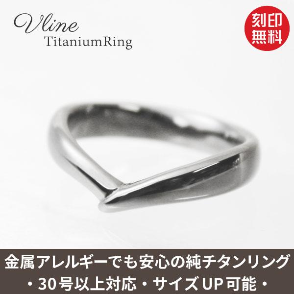 V字純チタンリング(金属アレルギー対応チタン指輪)セミオーダーリングR087刻印無料 金属アレルギー 肌に優しい指輪 大きいサイズの指輪 結婚記念日の指輪 アレルギーフリー チタンリング チタン指輪