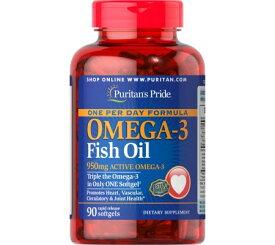 ピューリタンズプライド オメガ3 フィッシュオイル 950mg 90粒 ソフトジェル 3倍濃縮1日1粒 ラピッドリリース型 魚油