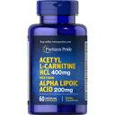 ピューリタンズプライド Puritan's Pride アセチルL-カルニチン400 mg.・アルファリポ酸(αリポ酸)200 mg.