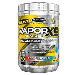 MuscleTech Vapor X5 Next Pre Pre Workoutパウダー、爆発性エネルギーサプリメント、Icy Rocket Freeze、60回分、27.2オンス より良いパフォーマンスと耐久性研究にヒントを得たベータアラニンの投与量。