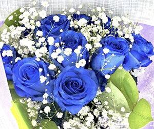 【生花花束】 青いバラ 10本 「奇跡」「神の祝福」プロポーズ 誕生日 記念日 花束 青いバラ花束 ベンデラ 薔薇 宅配送 お祝 ギフト プレゼント 送別会 退職祝いカスミ草、グリーン付き バラ