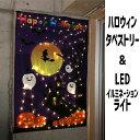 ハロウィン タペストリー & LEDイルミネーションライト 飾り 2点セット 飾り付け 壁 玄関 装飾
