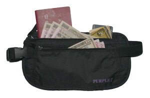 セキュリティポーチ マネーベルト パスポートや現金などの貴重品収納に 超軽量&通気性抜群 フリーサイズ ウエストポーチ 海外旅行時の盗難防止!