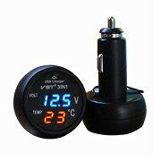 3in1デジタル電圧計温度計USBカーチャージャー12V/24Vバッテリー対応