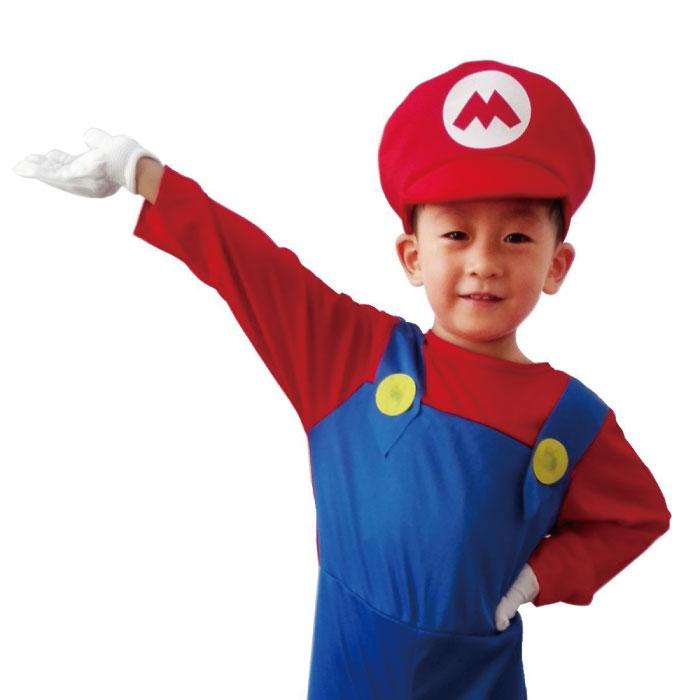 マリオ ルイージ コスチューム 子供 コスプレ 衣装+帽子+つけヒゲ+手袋 4点セット