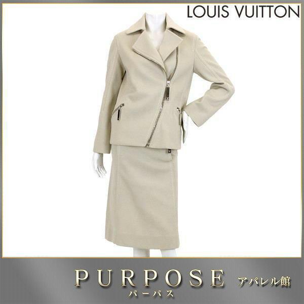 【クリーニング済】 ルイヴィトン LOUIS VUITTON スカートスーツ ベージュ 36 レディース LV 【中古】