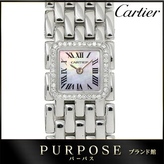 Cartier Cartier mini-Rue van WG3002T8 diamond bezel Lady's watch K18WG white gold white shell clockface 750 pure gold quartz watch