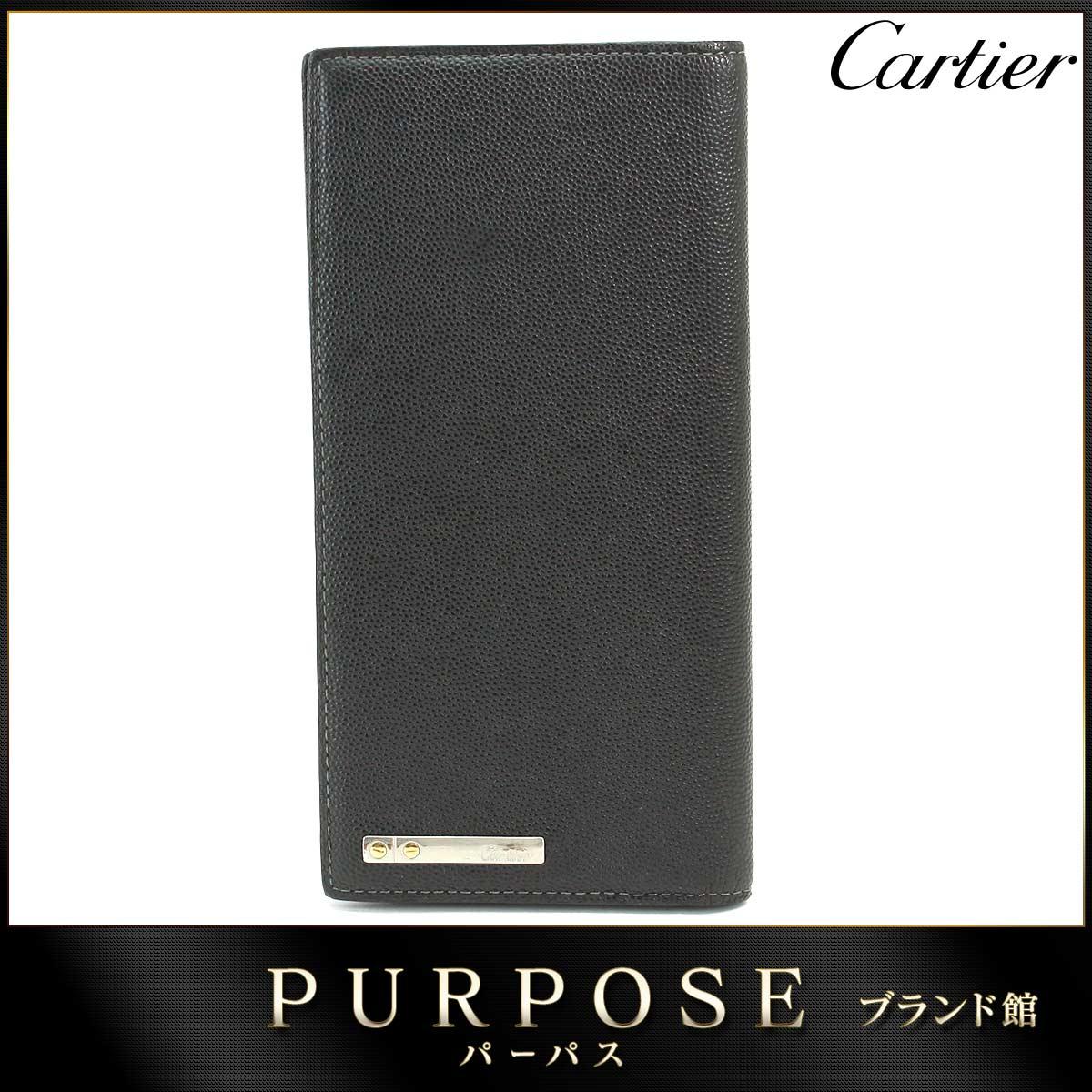 カルティエ Cartier サントス 二つ折り 長財布 レザー ブラック L3000769 【中古】