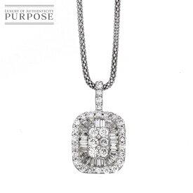 【新品仕上げ】 ダイヤ 1.00ct K18WG ネックレス 45cm 18金ホワイトゴールド ダイア 【中古】