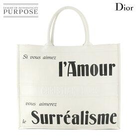 【未使用】 クリスチャン ディオール Christian Dior ブック トート バッグ レザー ホワイト ブラック ロゴ 【中古】