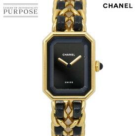 【電池交換 済み】 シャネル CHANEL プルミエール XLサイズ H0001 ヴィンテージ レディース 腕時計 ブラック 文字盤 ゴールド クォーツ ウォッチ 【中古】