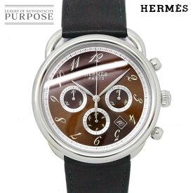 【OH 済み】 エルメス HERMES アルソー クロノグラフ AR4.910 メンズ 腕時計 デイト ブラウン 文字盤 オートマ 自動巻き ウォッチ 【中古】