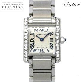【電池交換 済み】 カルティエ Cartier タンクフランセーズSM W4TA0008 ダイヤベゼル レディース 腕時計 シルバー 文字盤 クォーツ ウォッチ 【中古】
