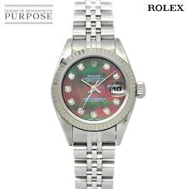 ロレックス ROLEX デイトジャスト 69174NG A番 レディース 腕時計 10P ダイヤ ブラックシェル 文字盤 K18WG ホワイトゴールド オートマ 自動巻き ウォッチ 【中古】