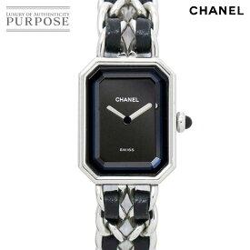 【電池交換 済み】 シャネル CHANEL プルミエール Lサイズ H0451 ヴィンテージ レディース 腕時計 ブラック 文字盤 シルバー クォーツ ウォッチ 【中古】
