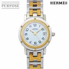 【電池交換 済み】 エルメス HERMES クリッパー コンビ CL4 220 ヴィンテージ レディース 腕時計 デイト ホワイト 文字盤 クォーツ ウォッチ【中古】