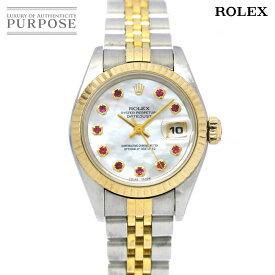 ロレックス ROLEX デイトジャスト コンビ 69173NGR U番 レディース 腕時計 10Pルビー ホワイトシェル 文字盤 オートマ 自動巻き ウォッチ 【中古】
