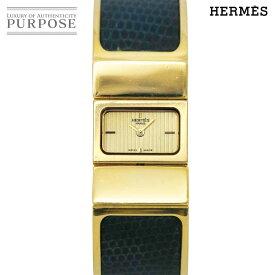 【電池交換 済み】 エルメス HERMES ロケ L01 201 バングル ウォッチ ヴィンテージ レディース 腕時計 ブラック ゴールド 文字盤 クォーツ 【中古】