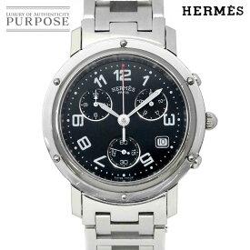 【電池交換 済み】 エルメス HERMES クリッパー クロノグラフ CL1.910 ヴィンテージ メンズ 腕時計 デイト ブラック 文字盤 クォーツ ウォッチ Clipper Chronograph 【中古】