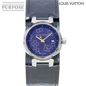 【電池交換 済み】 ルイ ヴィトン LOUIS VUITTON タンブールPM ラブリー Q121B レディース 腕時計 デイト パープル 文字盤 クォーツ ウォッチ 【中古】