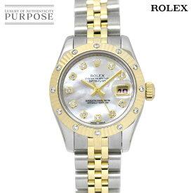 【OH 新品仕上げ 済み】 ロレックス ROLEX デイトジャスト 179313 D番 ルーレット コンビ レディース 腕時計 ダイヤベゼル K18YG イエローゴールド オートマ 自動巻き ウォッチ Datejust 【中古】