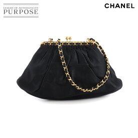 シャネル CHANEL がま口 チェーン ショルダー バッグ サテン ブラック ゴールド 金具 ヴィンテージ Chain Shoulder Bag 【中古】