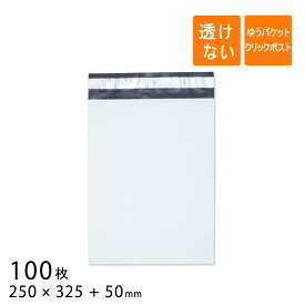 宅配ビニール袋 幅250×高さ325+折り返し50mm ゆうパケット クリックポスト A4 厚さ0.06mm 白色 100枚
