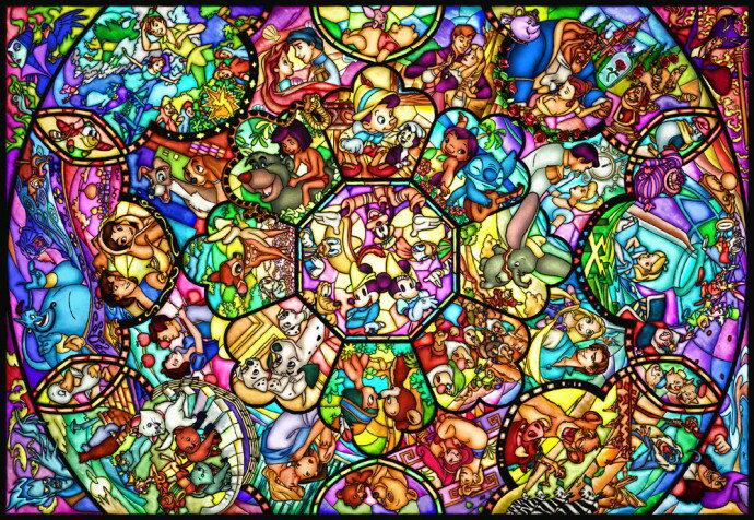 ディズニー オールキャラクター 1000ピース ジグソーパズル ディズニー ステンドアート オールスター ステンドグラス(51.2x73.7cm)(DS-1000-764)[テンヨー] t168