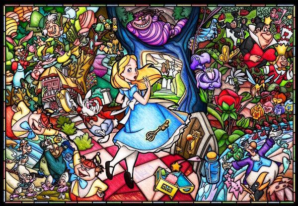 ディズニー ふしぎの国のアリス 1000ピース ジグソーパズル ピュアホワイト ふしぎの国のアリス ストーリーステンドグラス(51x73.5cm) (DP-1000-027)[テンヨー] t102